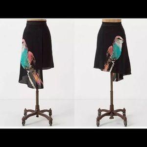 Anthropologie Leifsdottir Cordiva Silk Skirt Bird